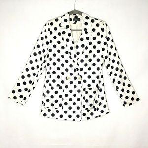 Topshop Polka Dot Linen Blend White Black Blazer